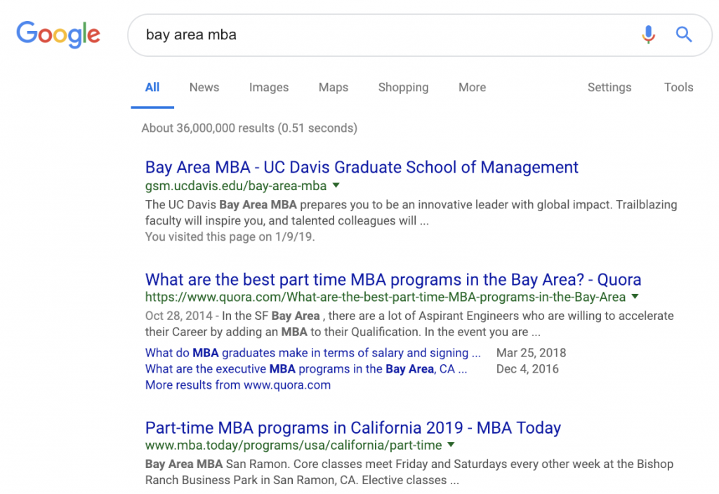 Bay Area MBA Result