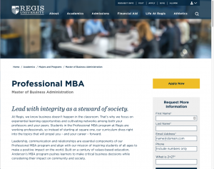 MBA page at Regis University